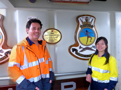 Anthony Woolley and Jenny Liu aboard HMAS Warramunga.