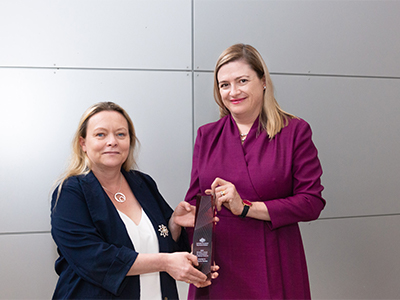 Professor Tanya Monro (right) with Dr Sylvie Perreau, who received the 2020 Minister's Award for Achievement in Defence Science.