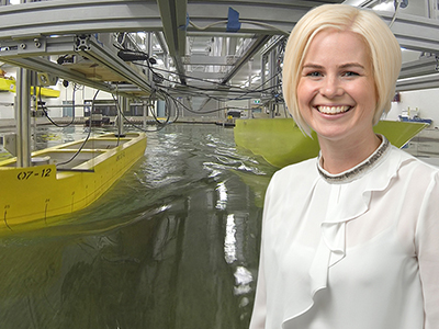 Jenny Mathew at the Australian Maritime College Model Test Basin facility.