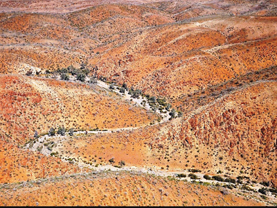 Aerial view of the Northern Flinders Ranges containing incised creek valleys and gorges where Warratyi Rock Shelter was discovered.