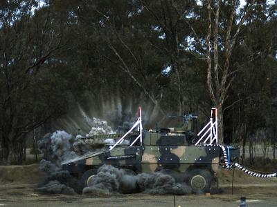 Boxer armoured vehicle undergoing blast testing.