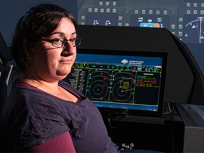 Angela Consoli in the Future Integrated Mission System (FIMS) development suite.