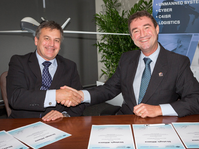 Chief Defence Scientist Dr Alex Zelinsky (left) and Northrop Grumman Australia Chief Executive Mr Ian Irving.
