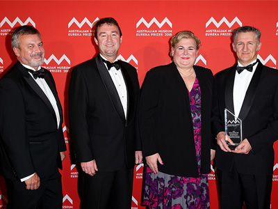 Chief Defence Scientist Alex Zelinsky (left) presented the award to the Northrop Grumman team (L-R): Ian Irving, CEO Northrop Grumman Australia, Winter McCall and Shane Cooper.