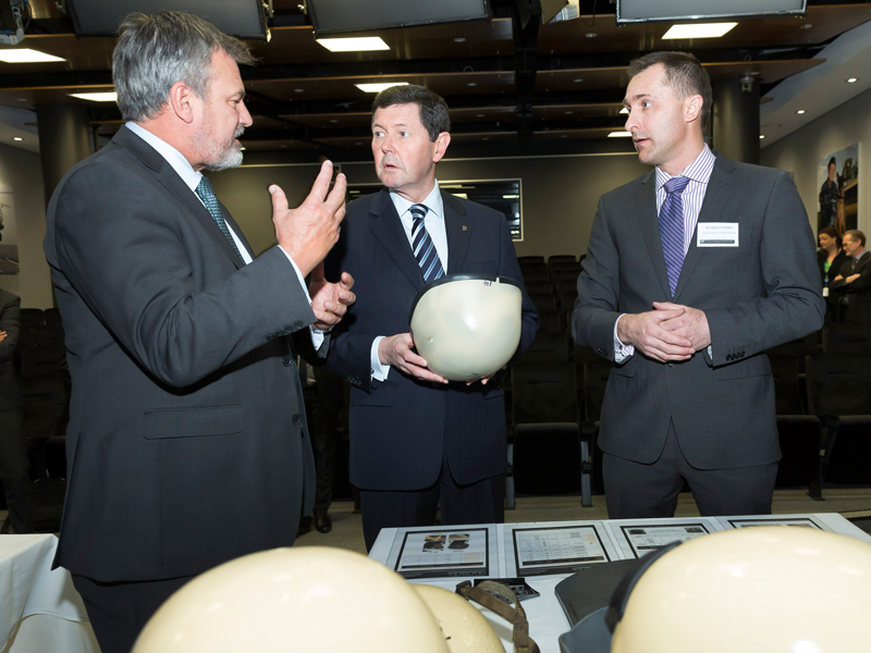 Dr Alex Zelinsky, Minister for Defence and Mr Adam Fairbairn from Amor Composite Pty Ltd.