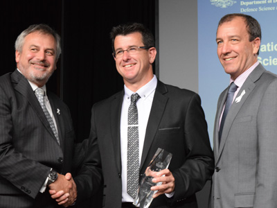 L-R Chief Defence Scientist Dr Alex Zelinsky, Minister's Award winner Dr Mark Patterson, and the Minister for Defence Materiel and Science the Hon Mal Brough MP