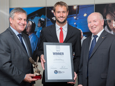 Rhys Lehmann with Dr Zelinsky and Air Commodore Noel Schmidt during the awards presentation.