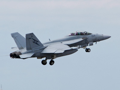 An F/A-18F Super Hornet takes off ahead of conducting an aerial display during the Australian International Airshow.