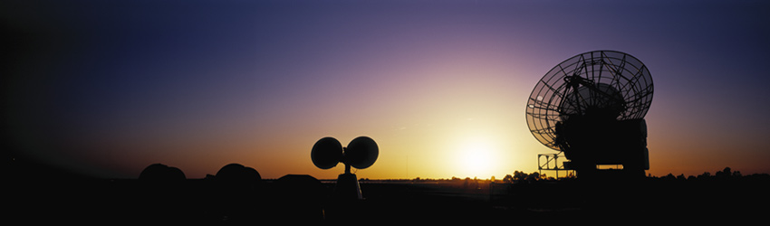Satellite dishes in the horizon.