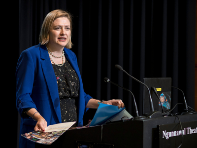 An image of Chief Defence Scientist, Tanya Monro speaking at a lectern