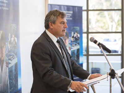 Chief Defence Scientist Alex Zelinsky at the 2014 launch of Defence Science Partnerships