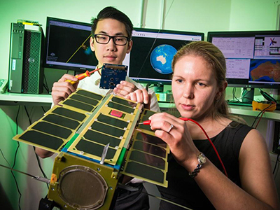 Cubesats (small satellites) developed in collaboration with Australian universities.