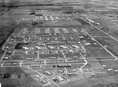 An aerial view of Salisbury Explosives Factory, looking to the south