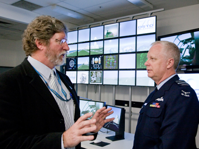 DST's Simon Parker (left) speaking with then Chief of the Defence Force Binskin.