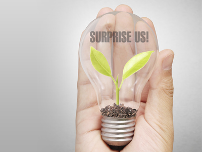 A hand holding a lightbulb with a plant growing inside. Words 'Surprise Us' overlaying image.
