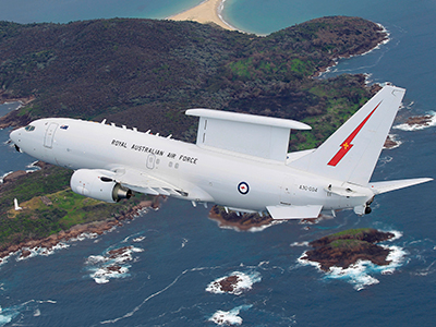 Air to Air with the Boeing 737 Airborne Early Warning and Control (AWE&C) Wedgetail aircraft over Newcastle and Port Stephens region.