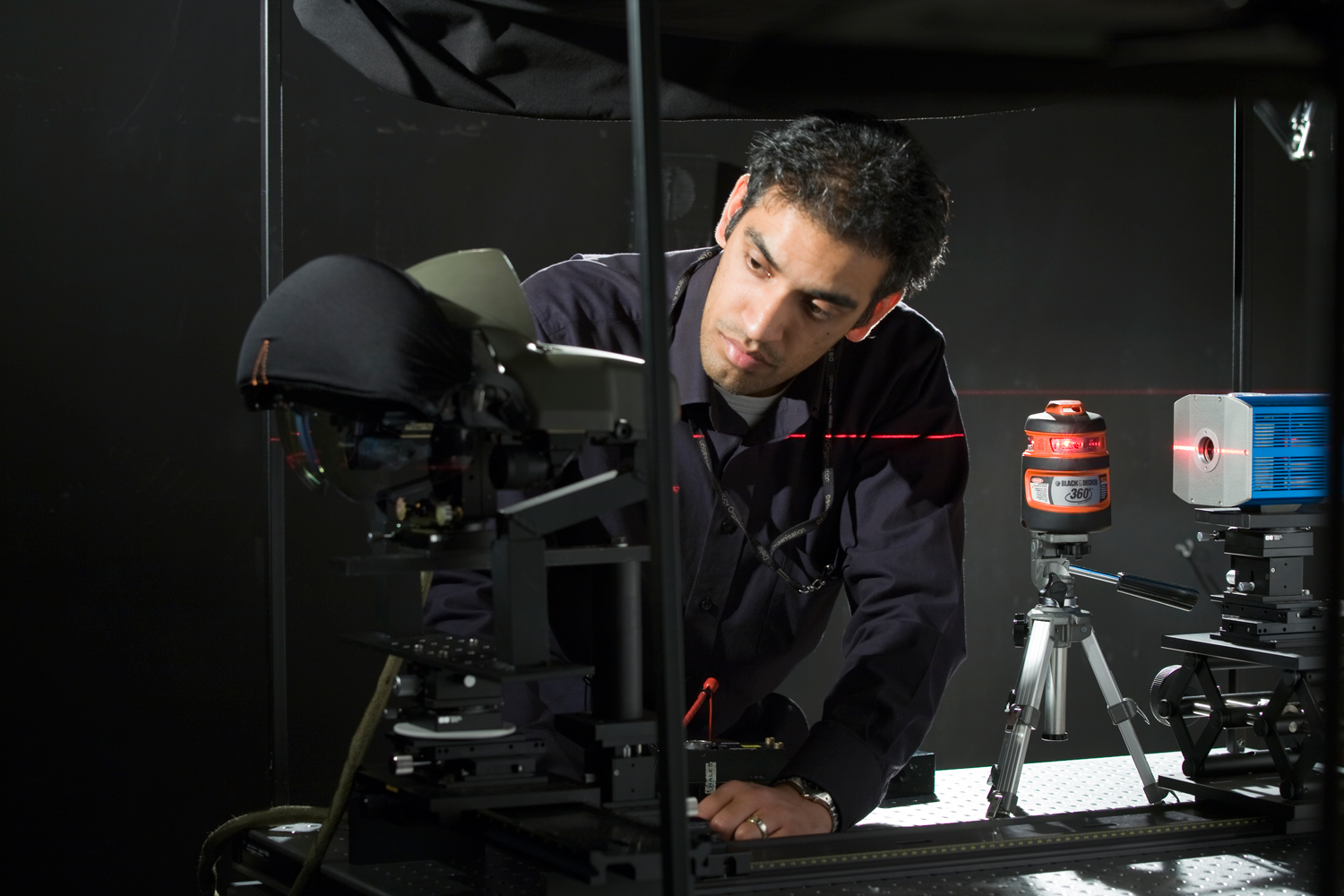Checking the optical alignment of the instrumentation to measure the optical performance of DSTO's Night Vision Imaging System.