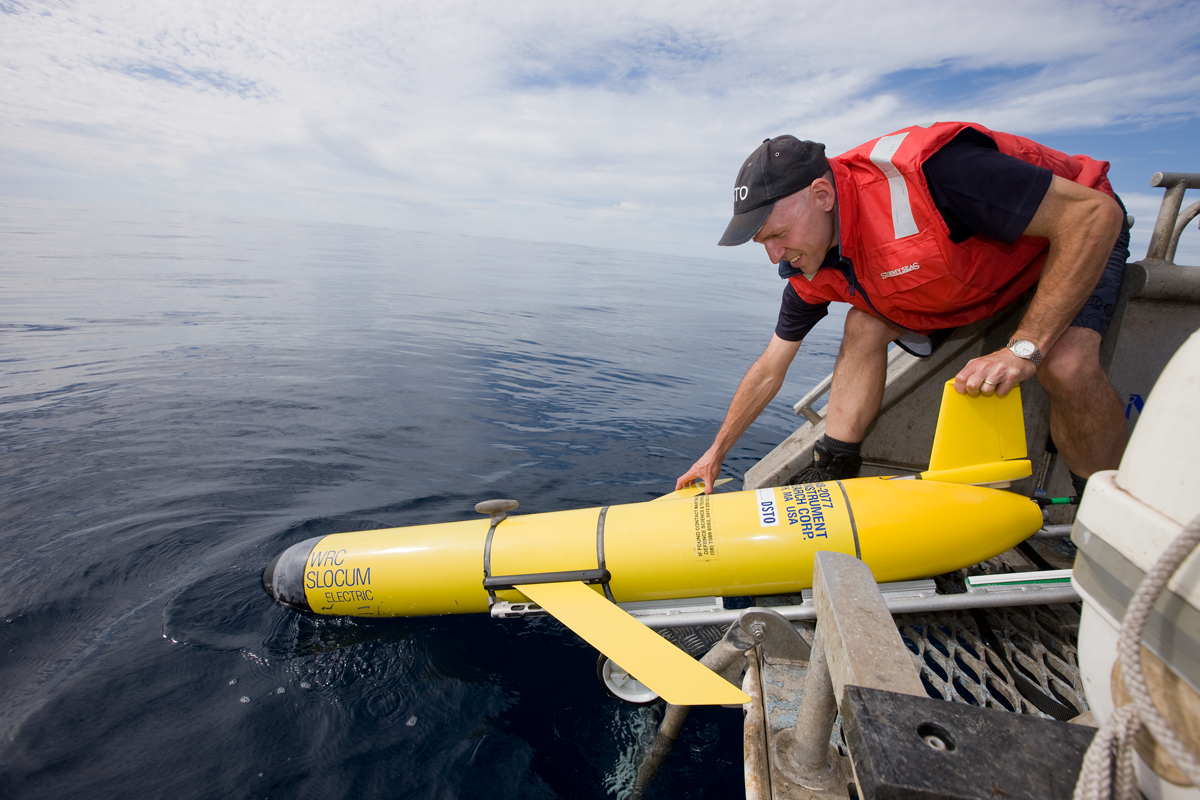 DSTO is using the Slocum Glider, a small commercially available, undersea vehicle, capable of long term monitoring of oceanographic parameters such as temperature, pressure and salinity, to develop, assess and demonstrate costs-effective approaches to unmanned undersea surveillance for the ADF.