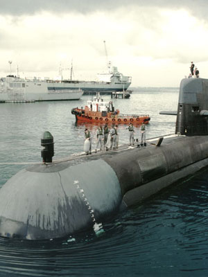 A photograph of the Collins class submarine