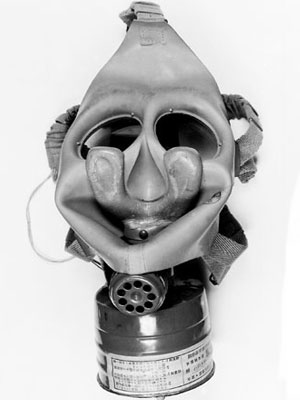 A black and white photo of a respirator.