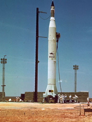 A photograph of the WRESAT rocket ready for launch