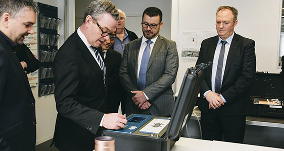Minister for Defence Christopher Pyne launched a prototype of the Greyscan