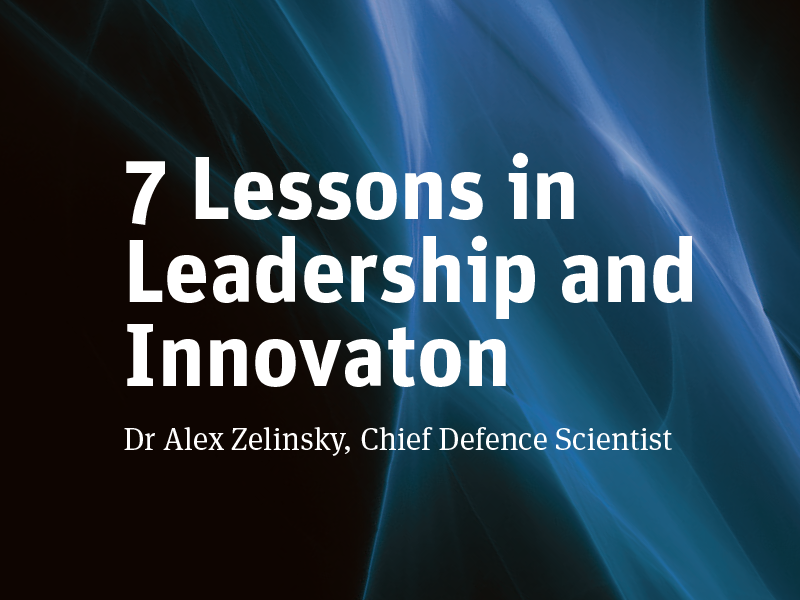 A portion of the cover of 7 Lessons in Leadership and Innovation