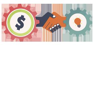icon depicting partnership of money and ideas