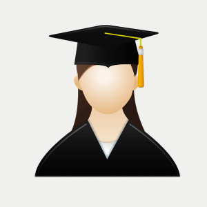 Icon depicting a female student