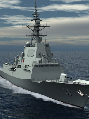 A computer generated image of the Air Warfare Destroyer (AWD).