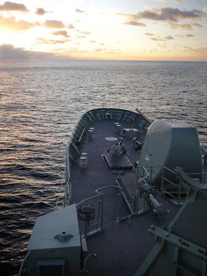 The bow of HMAS Arunta.