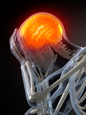 A picture of a skeleton with a glowing brain, indicating head pain.