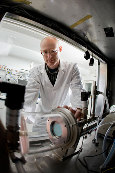 David Neilsen undertaking TIGER (Toxic Industrial Gas Evaluation Rig) for research with test canisters, fabric swatches or bulk adsorbent samples against a range of toxic industrial chemicals (TIC).