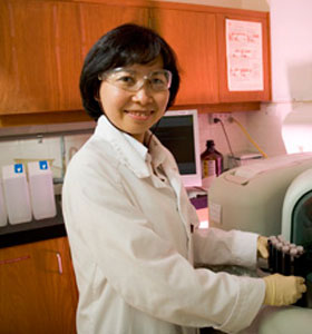 Scientist conducting food science laboratory testing