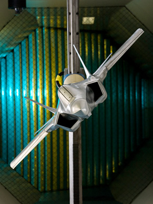 A JSF model in DST Group's low-speed wind tunnel.