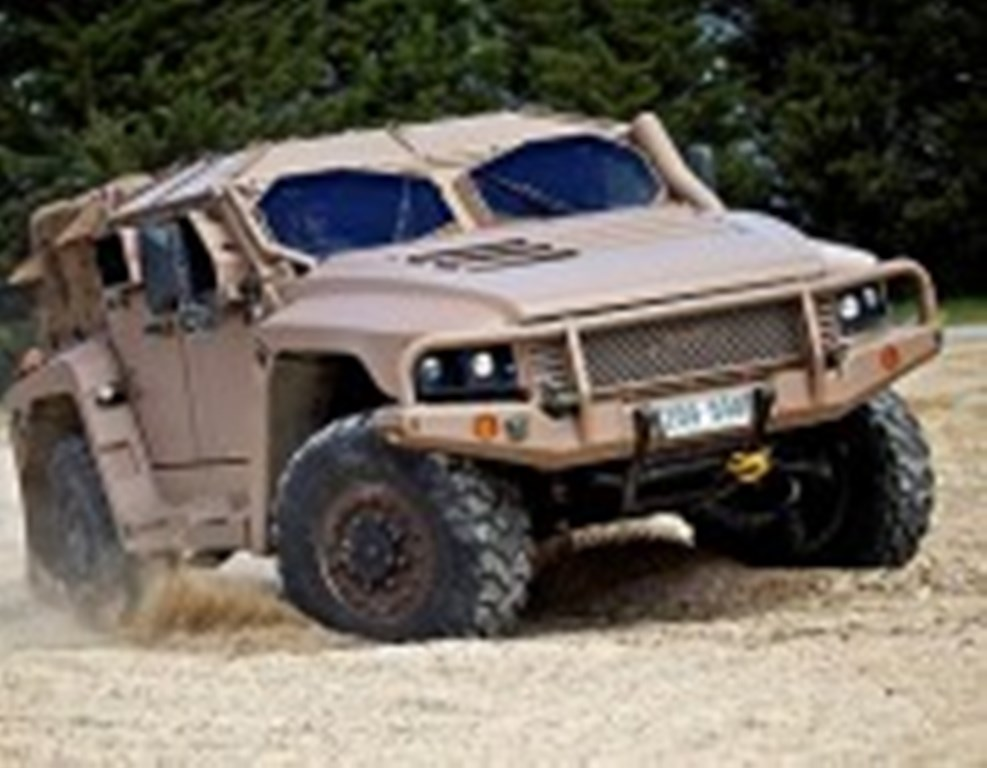 An armoured vehicle performs a driving test.