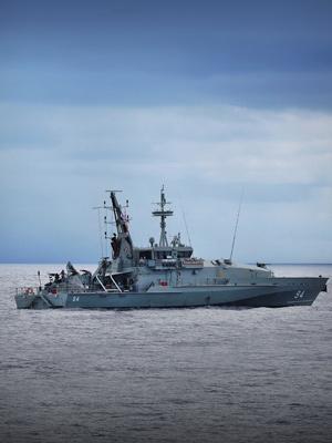 Armidale Class Patrol Boat, HMAS Launceston, at sea.