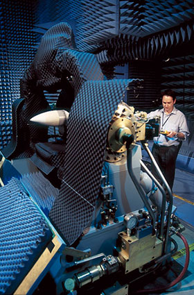A scientist working on the Evolved Sea Sparrow Missile (ESSM).
