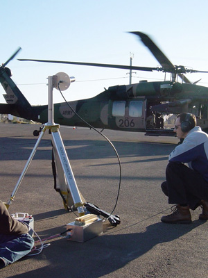 Men using GPS equipment in front of a helicopter.