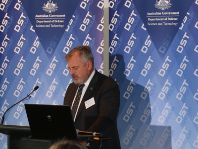 Chief Defence Scientist Alex Zelinsky addresses an industry breakfast.