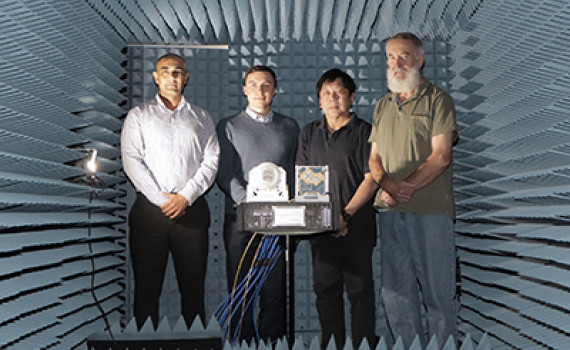 (L-R): Dr Manik Attygalle, Mr Artem Vasilyev, Mr Khee Hue and Mr Mark Gontar in DSTG's Antenna Measurement Facility.
