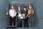 (L-R): Dr Manik Attygalle, Mr Artem Vasilyev, Mr Khee Hue and Mr Mark Gontar in DSTG's Antenna Measurement Facility.