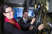 Julia Freeman with colleague Brady Gentle in the environmental test chamber.
