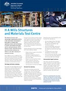 The cover of the H A Wills Structures and Materials Test Centre Fact Sheet