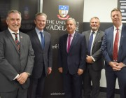 A group shot of Pictured L-R: Prof Michael Webb, Director of Defence and Security (University of Adelaide), Minister Pyne, Chancellor Scarce, Dr Zelinsky and Prof Mike Brooks, Interim Vice-Chancellor