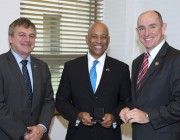 (L-R) Chief Defence Scientist Dr Alex Zelinsky, Dr Reginald Brothers and Assistant Minister for Defence Stuart Robert.