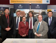 L-R:  Dr Gordon Frazer, Dr Alex Zelinsky, Ms Franca Placidi, Dr Sam Drake, Mr Peter Jenkins and Mr John Dawson at the signing during Partnerships Week.