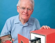 Dr David Warren with the black box flight recorder