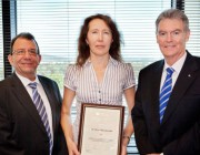 Acting Chief Defence Scientist Dr Warren Harch, Dr Elena Mazourenko and Secretary of Defence Mr Duncan Lewis.