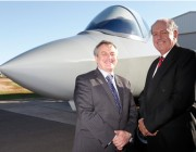 Chief Defence Scientist Dr Alex Zelinsky (left) with Senator the Honourable David Johnston, Minister for Defence in front of the F-35 Iron Bird at the unveiling ceremony.